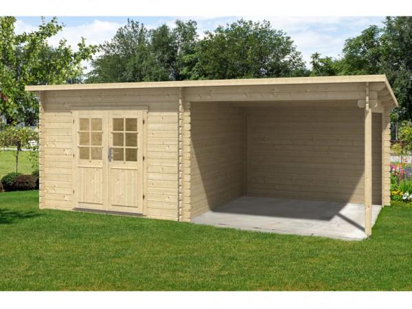 gartenhaus blockbohlenhaus flachau 28 mm naturbelassen 799112. Black Bedroom Furniture Sets. Home Design Ideas