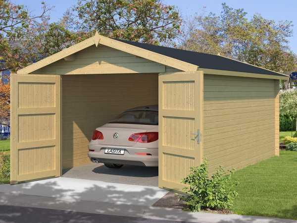 Garage Mauritius inkl. Doppeltor 28 mm naturbelassen