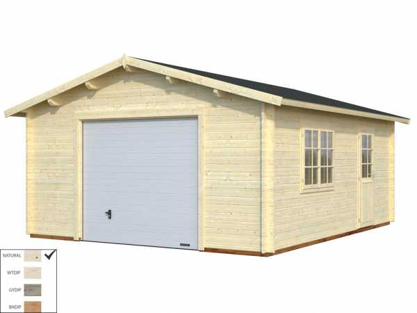 Garage Roger 23,9 m² mit Sektionaltor 44 mm naturbelassen