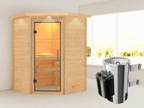 Sauna Massivholzsauna Alicja mit Dachkranz, Klarglas Ganzglastür + Plug & Play Ofen mit Steuerung