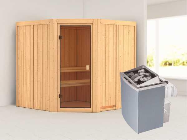 """Sauna """"Kotka"""" mit bronzierter Glastür + 9 kW Saunaofen integr. Strg."""