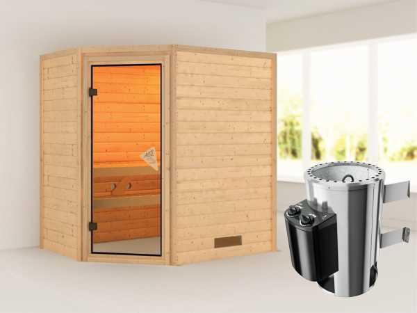 Sauna Massivholzsauna Cilja inkl. Plug & Play Saunaofen Steuerung