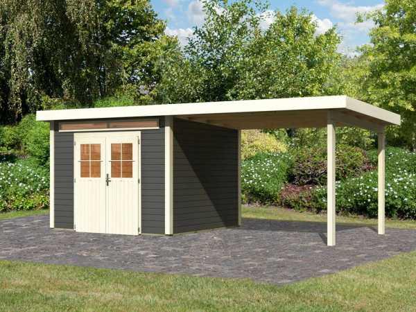 Gartenhaus SET Kerpen 3 28 mm terragrau, inkl. 3,2 m Anbaudach
