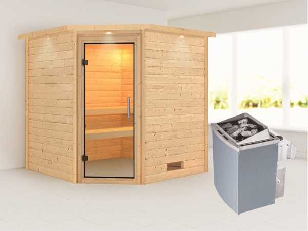 Sauna Massivholzsauna Nina mit Dachkranz, Klarglas Ganzglastür + 9 kW Saunaofen mit Steuerung