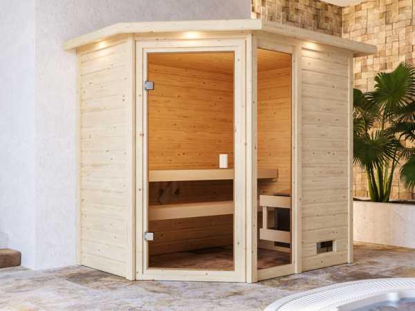 Sauna Jada mit bronzierter Glastür und Dachkranz + 9 kW Saunaofen integr. Strg.