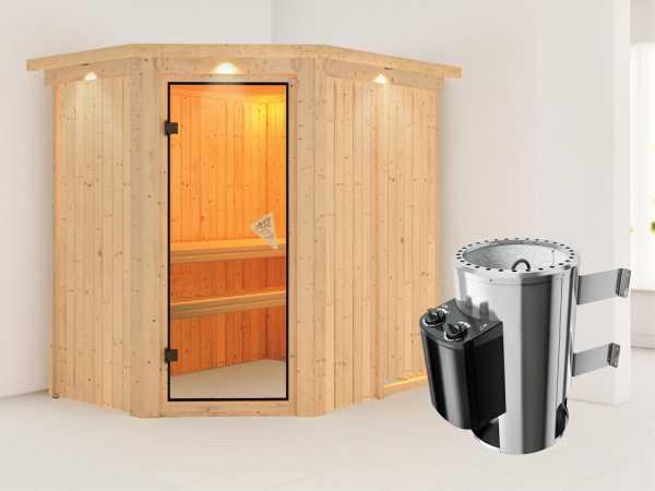 Sauna Systemsauna Saja mit Dachkranz, inkl. Saunaofen Plug & Play mit Steuerung