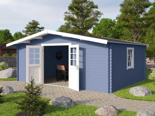 Gartenhaus Blockbohlenhaus Erna 1 40 mm taubenblau