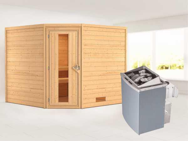 Sauna Massivholzsauna Leona Energiespartür + 9 kW Saunaofen mit Steuerung