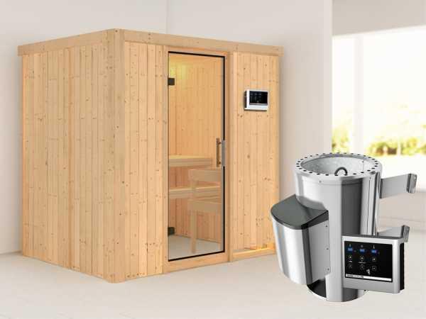 Sauna Systemsauna Fanja Klarglas Ganzglastür + Plug & Play Saunaofen mit externer Steuerung