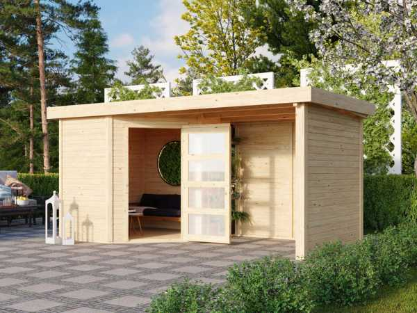 Gartenhaus SET Schwandorf 3 19 mm naturbelassen, inkl. 2,4 m Anbaudach + Seiten- und Rückwand