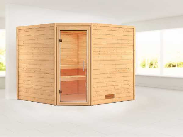 Sauna Massivholzsauna Leona Klarglas Ganzglastür