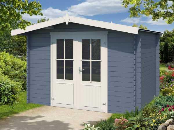 Gartenhaus Blockbohlenhaus Baltimore 28 mm taubenblau