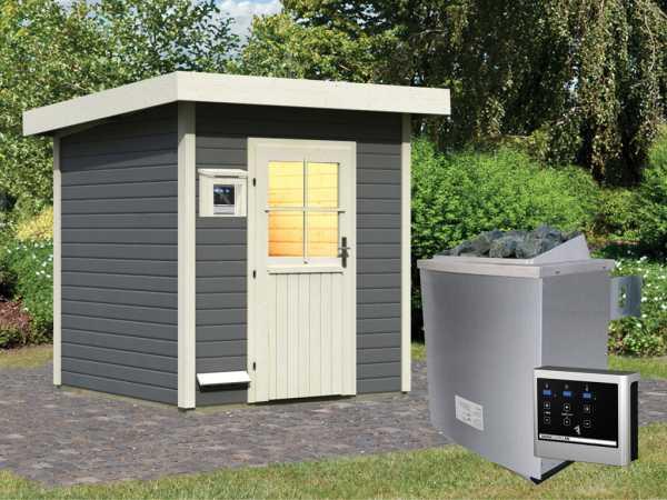 Saunahaus Taina Grau mit Holztür, inkl. 9 kW Saunaofen mit externer Steuerung