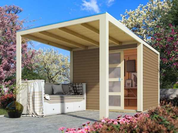 "Gartenhaus SET ""Qubic 1"" CLASSIC 19 mm sandbeige inkl. Anbaudach + selbstklebende Dachfolie"