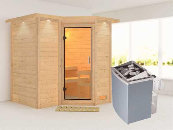 Sauna Massivholzsauna Sahib 1 mit Dachkranz, Klarglas Ganzglastür + 9 kW Saunaofen mit Steuerung