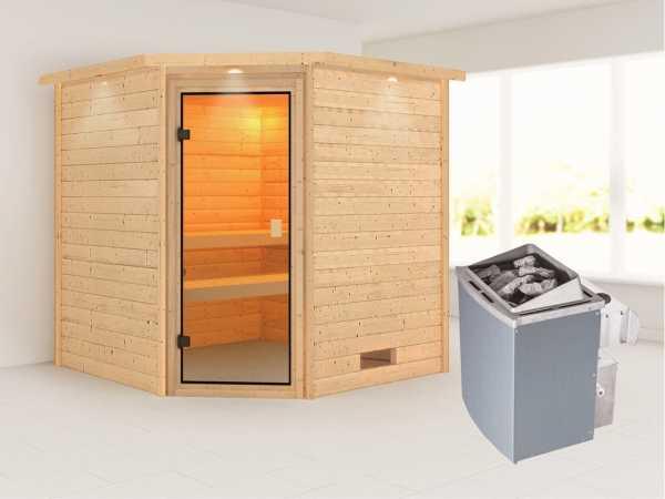 Sauna Massivholzsauna Nina mit Dachkranz, bronzierte Ganzglastür + 9 kW Saunaofen mit Steuerung