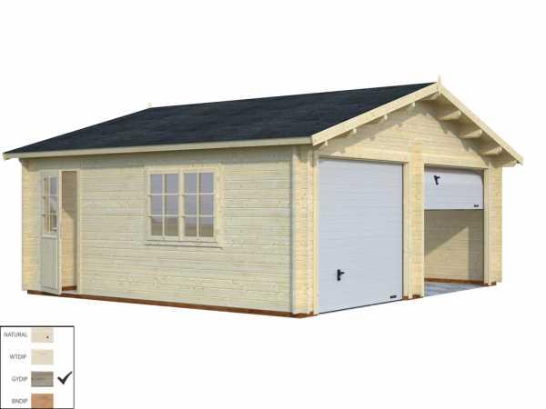 Garage Roger 28,4 m² mit Sektionaltor 44 mm grau tauchimprägniert