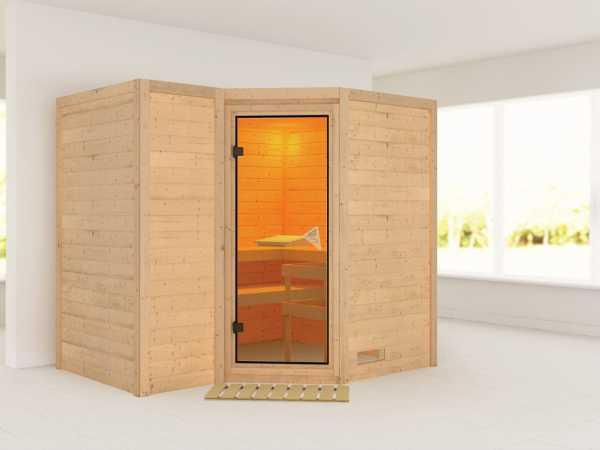 Massivholzsauna Sahib 2 bronzierte Ganzglastür