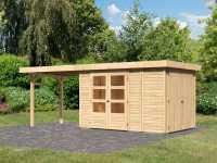 Gartenhaus SET Retola 3 19 mm naturbelassen, inkl. 2,8 m Anbaudach + Anbauschrank