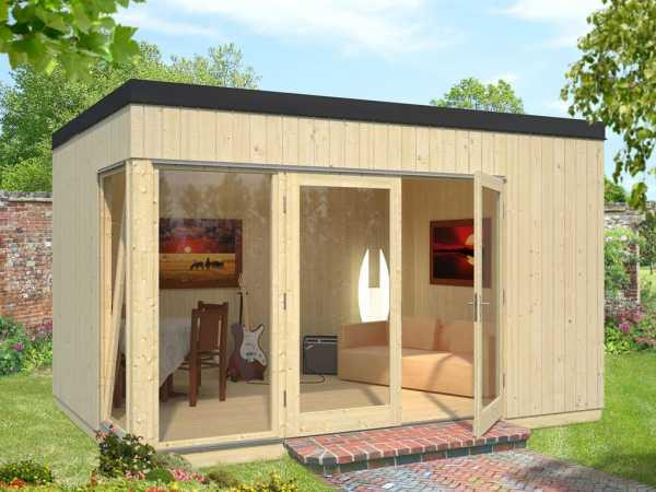 "Gartenhaus Blockbohlenhaus ""Solveig"" 13,6 m² 18+70 mm naturbelassen"