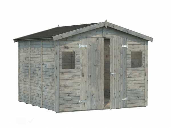 Gerätehaus Dan 7,0 m² 16 mm grau tauchimprägniert