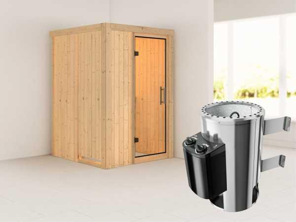 Sauna Systemsauna Lenja Klarglas Ganzglastür + Plug & Play Saunaofen mit Steuerung