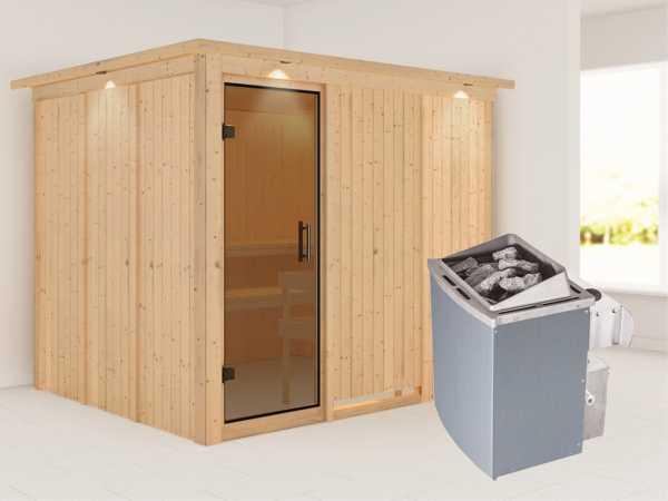 """Systemsauna """"Gobin"""" mit Dachkranz, graphit Ganzglastür, inkl. 9 kW Saunaofen integr. Steuerung"""