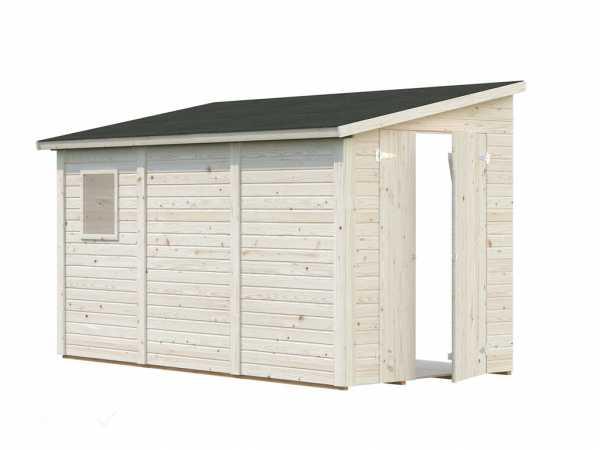 Gerätehaus Anlehnhaus Blockbohlenhaus Mia 5,2 m² 16 mm transparent tauchimprägniert