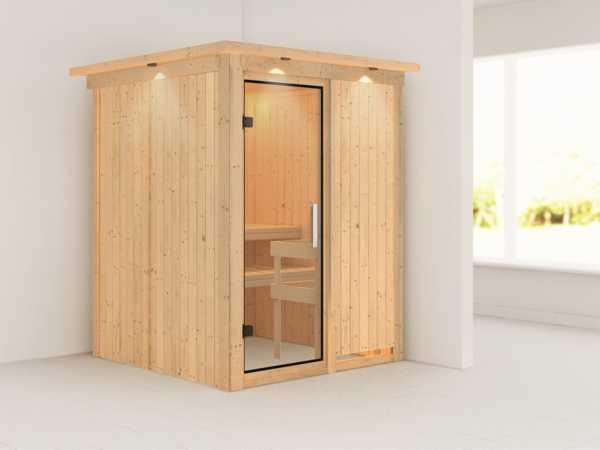 Sauna Systemsauna Norin mit Dachkranz, Klarglas Ganzglastür
