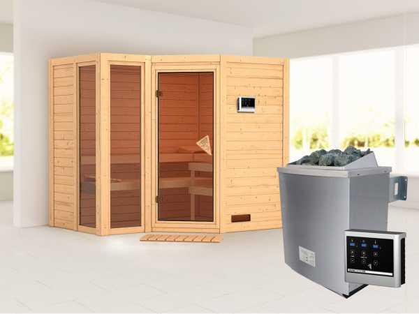 Sauna Massivholzsauna SPARSET Pincata inkl. 9 kW Saunaofen mit ext. Steuerung, bronz. Glastür