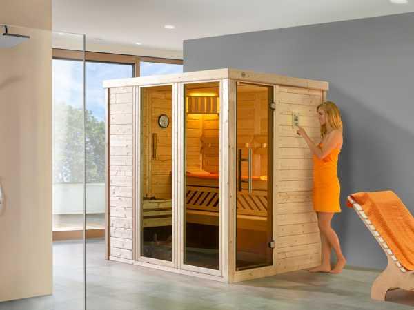 Sauna Massivholz-Elementsauna Kemi Panorama 1 inkl. Saunaofen BioS 7,5 kW + externer Steuerung