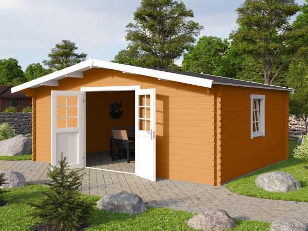 Gartenhaus Blockbohlenhaus Erna 2 40 mm eiche