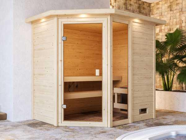 Sauna Jada mit bronzierter Glastür und Dachkranz