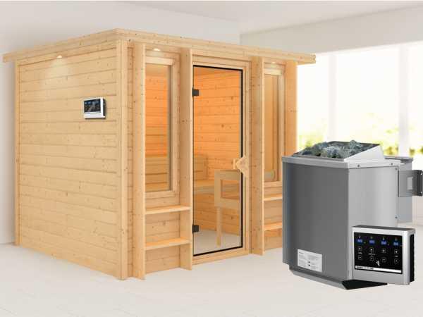 Sauna Ilona mit bronzierter Glastür + 9 kW Bio-Kombiofen mit ext. Strg.