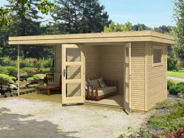 Gartenhaus Blockbohlenhaus Faro 4 28 mm carbongrau