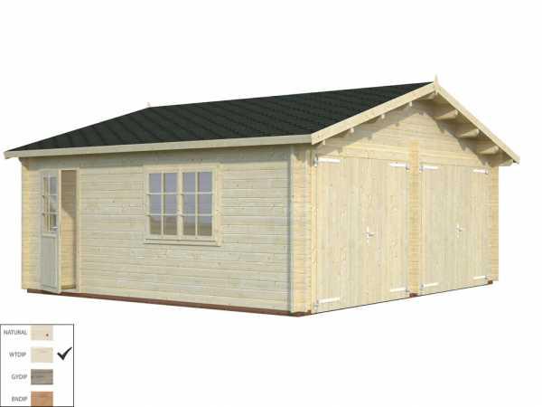 Garage Roger 28,4 m² mit Holztor 44 mm transparent tauchimprägniert