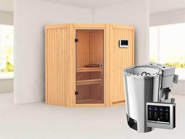 Sauna Systemsauna Tonja Klarglas Ganzglastür + Plug & Play Bio-Ofen mit externer Steuerung