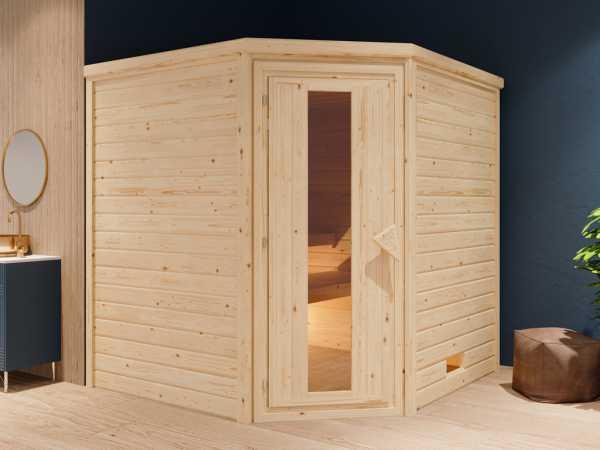 """Sauna Systemsauna """"Bergen 6"""" Holztür mit Isolierverglasung inkl. 9 kW Bio-ofen mit ext. Steuerung"""
