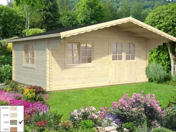 Gartenhaus Blockbohlenhaus Sally 19,1 m² 44 mm grau tauchimprägniert