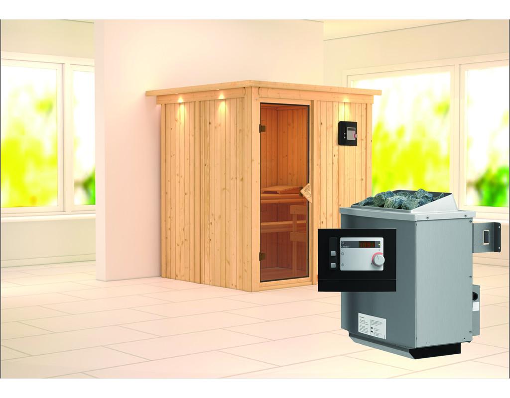 sauna systemsauna laurin mit dachkranz inkl 9 kw saunaofen ext steuerung ka4390. Black Bedroom Furniture Sets. Home Design Ideas