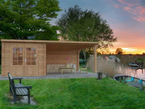 Gartenhaus Blockbohlenhaus Ella 6,9+10,0 m² 28 mm braun tauchimprägniert