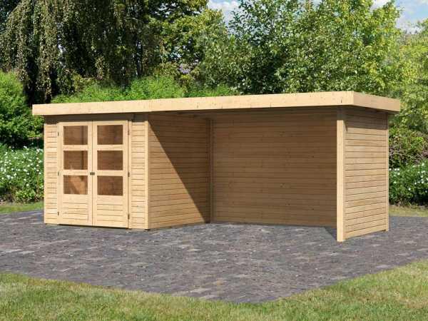 Gartenhaus SET Askola 2 19 mm naturbelassen, inkl. 2,8 m Anbaudach + Seiten- und Rückwand