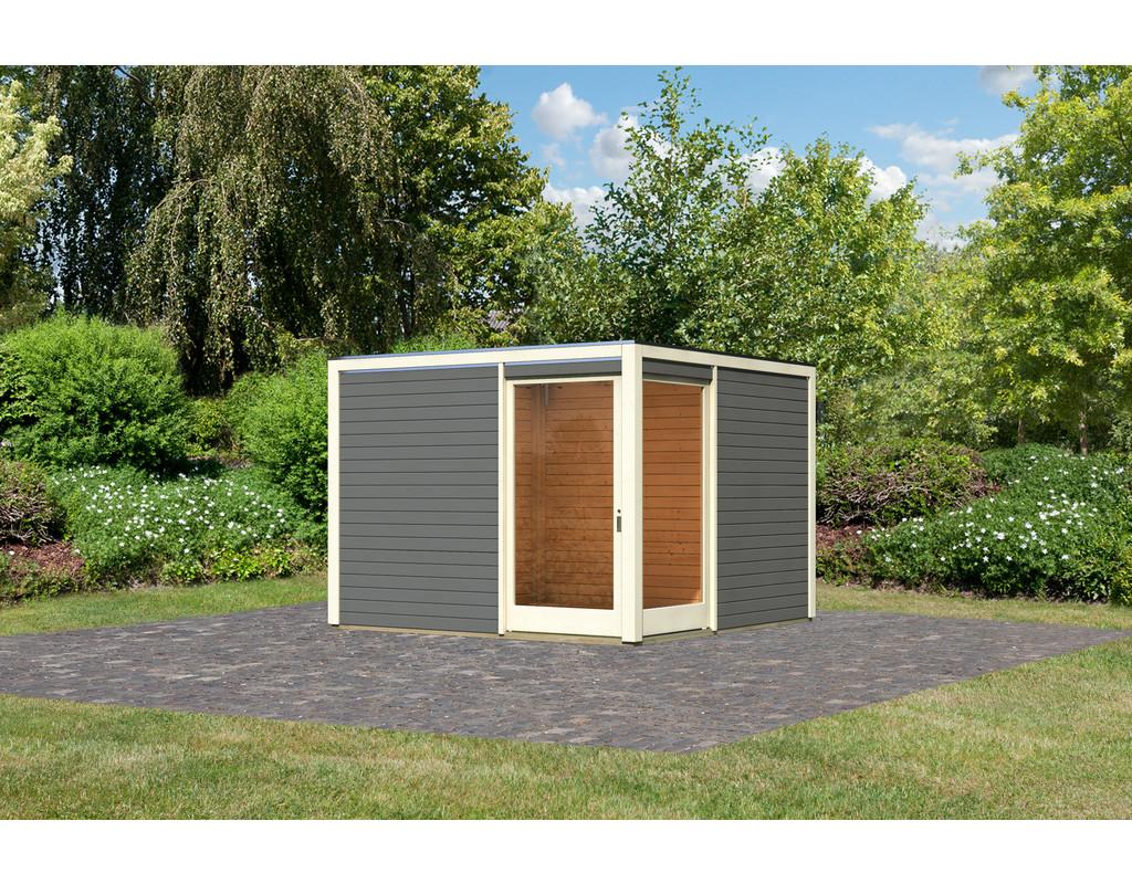 gartenhaus cubus eck 2 28 mm terragrau ka3508. Black Bedroom Furniture Sets. Home Design Ideas