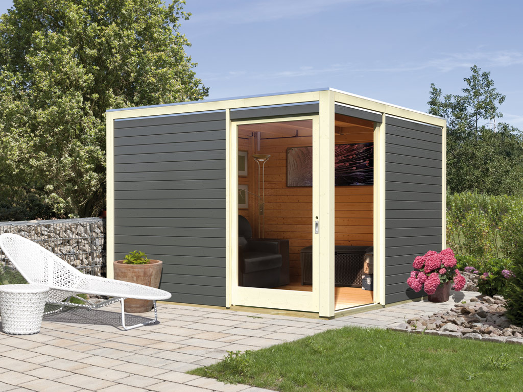 gartenhaus sparset cubus eck 3 premium 28 mm terragrau inkl epdm dachfolie ka5085. Black Bedroom Furniture Sets. Home Design Ideas