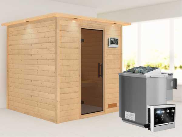 """Sauna Massivholzsauna """"Nora"""" mit Dachkranz, graphit Ganzglastür + 9 kW Bio-Kombiofen mit ext. Strg"""