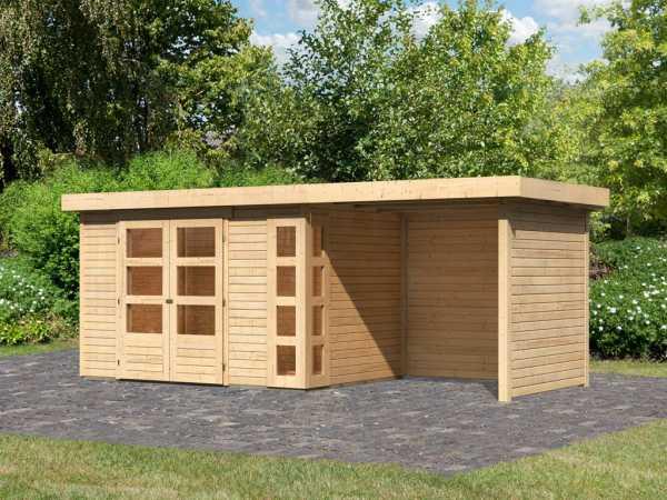Gartenhaus SET Kerko 4 19 mm naturbelassen, inkl. 2,4 m Anbaudach + Seiten- und Rückwand