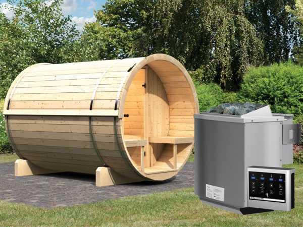 Saunafass Fass-Sauna 2 inkl. 9 kW Bio-Kombiofen ext. Steuerung
