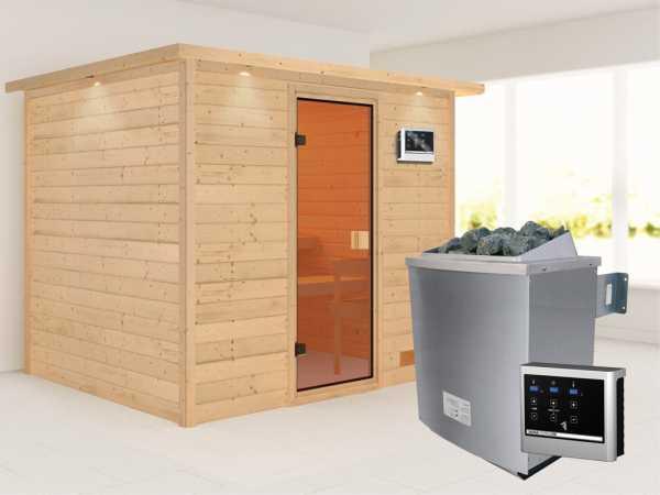 Sauna Massivholzsauna Karla mit Dachkranz, bronzierte Ganzglastür + 9 kW Saunaofen mit ext. Strg