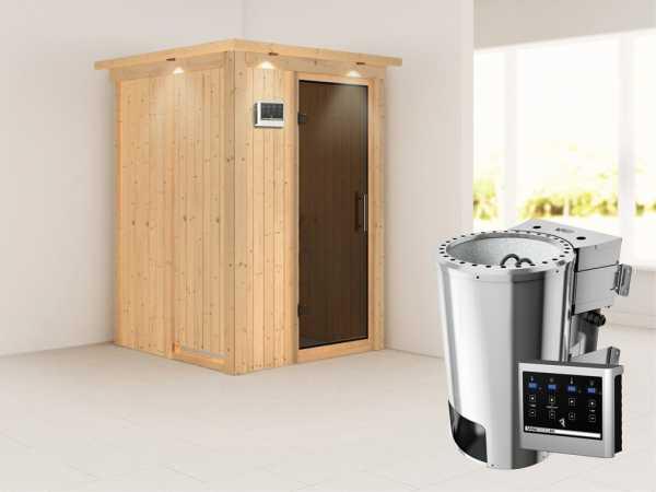 Sauna Systemsauna Lenja mit Dachkranz, graphit Ganzglastür + Plug & Play Bio-Ofen mit ext. Strg