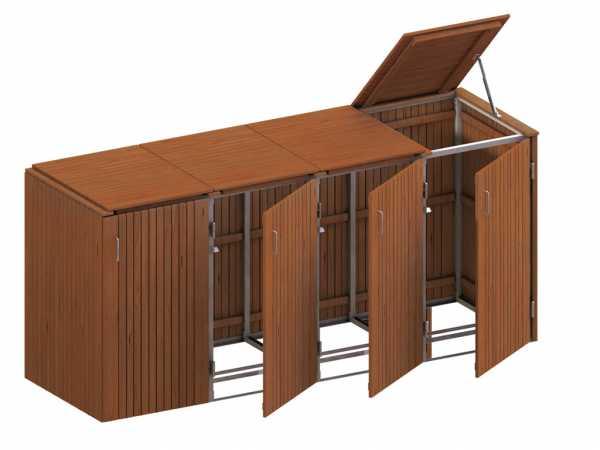 Mültonnenbox für 4 Behäter, Hartholz